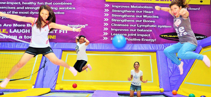 Three Women Jumping at Zero Gravity Trampoline Park
