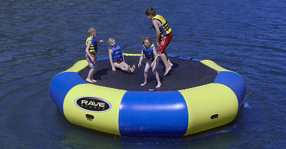 Kids Playing on a Water Trampoline