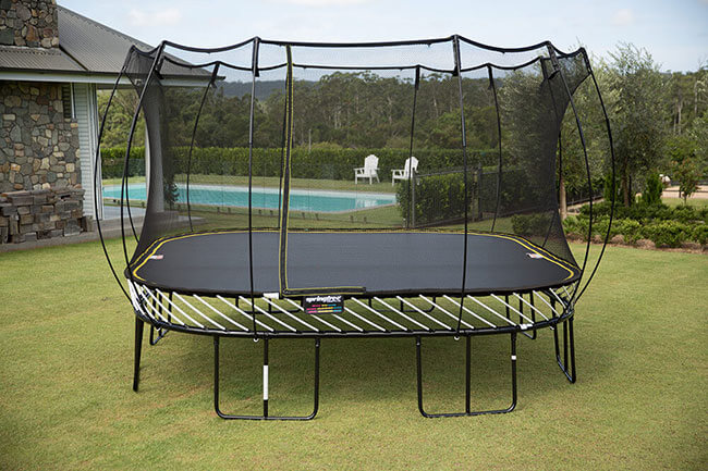Example of a safe, spring free trampoline