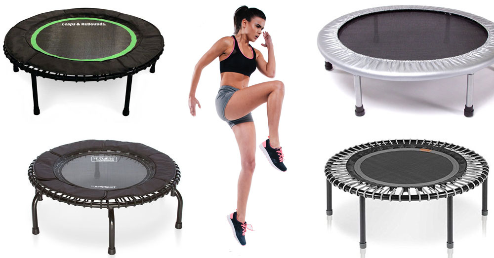 Woman Surrounded by Mini Trampolines